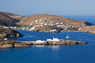 View of Chrisopigi Monastery and Faros on island's south east coast, Sifnos, Cyclades, Aegean Sea, Greek Islands, Greece, Europe