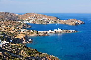 View along island's south east coastline towards Chrisopigi, Sifnos, Cyclades, Aegean Sea, Greek Islands, Greece, Europe