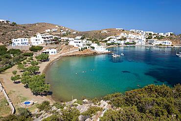 View of crystal clear sea and sand beach on south east coast, Faros, Sifnos, Cyclades, Aegean Sea, Greek Islands, Greece, Europe