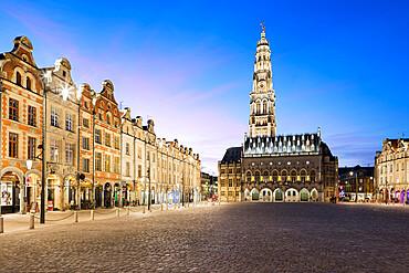 Place des Heros and the Town Hall and belfry floodlit at night, Arras, Pas-de-Calais, Hauts-de-France region, France, Europe