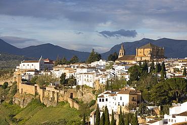 View over the old white town and the Iglesia de Santa Maria la Mayor, Ronda, Andalucia, Spain, Europe