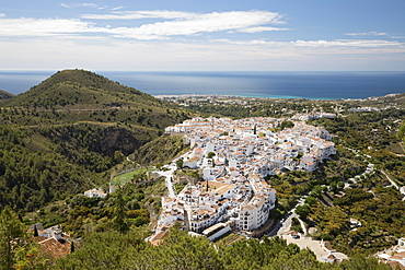 View over white Andalucian village to the sea, Frigiliana, Malaga Province, Costa del Sol, Andalucia, Spain, Europe
