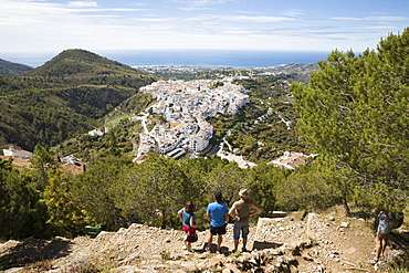 View over white Andalucian village with view to the sea, Frigiliana, Malaga Province, Costa del Sol, Andalucia, Spain, Europe