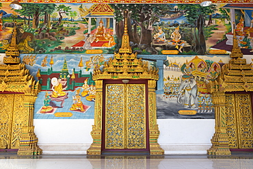 Murals and golden doors at the entrance of the Wat Inpeng Buddhist temple, Rue Samsenthai, Vientiane, Laos, Indochina, Southeast Asia, Asia