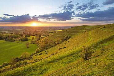 Iron-age hillfort of Hambledon Hill at sunset, Cranborne Chase AONB (Area of Outstanding Natural Beauty), Iwerne Courtney (Shroton), Dorset, England, United Kingdom, Europe