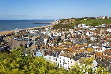 View over the old town and beach to Hastings Pier from the East Hill, Hastings, East Sussex, England, United Kingdom, Europe