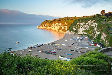 View over Beer beach and cliffs at sunrise, Beer, Jurassic Coast, Devon, England, United Kingdom, Europe