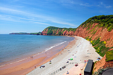 Jacob's Ladder Sidmouth beach viewed from Connaught Gardens, Sidmouth, Jurassic Coast, Devon, England, United Kingdom, Europe