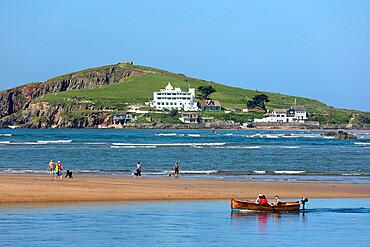Burgh Island and hotel viewed across Bantham Sand beach at low tide, Bigbury-on-Sea, South Hams district, Devon, England, UK