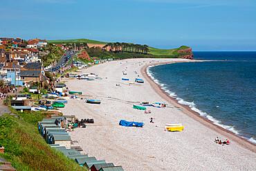 View along shingle beach and seaside town, Budleigh Salterton, Jurassic Coast, Devon, England, United Kingdom, Europe