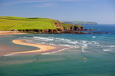 Bantham Sand beach and Long Stone from Bigbury-on-Sea with Bolt Tail in distance, Bigbury-on-Sea, South Hams, Devon, England, UK