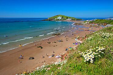 Bigbury beach with Burgh Island in distance, Bigbury-on-Sea, South Hams district, Devon, England, United Kingdom, Europe