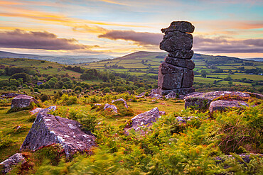 Bowerman's Nose rock formation at sunset, near Manaton, Dartmoor National Park, Devon, England, United Kingdom, Europe