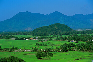 View over rice fields from Rich Pass, near Hue, North Central Coast, Vietnam, Indochina, Southeast Asia, Asia