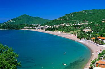 View over resort and beach, Rafailovici, The Budva Riviera, Montenegro, Europe