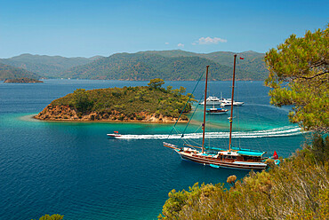 Gulet cruise, Fethiye Korfezi, Fethiye, Aegean, Anatolia, Turkey, Asia Minor, Eurasia