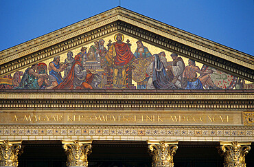 Mosaic of St. Stephen on front of the Art Exhibition Hall, Heroes' Square, Budapest, Hungary, Europe