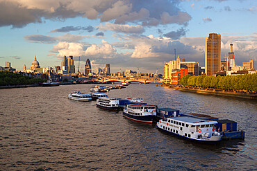 View along River Thames to Blackfriars Bridge and St. Paul's Cathedral, London, England, United Kingdom, Europe