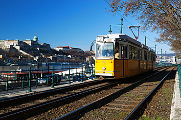 Tram alongside the Danube River, Pest, Budapest,  Hungary, Europe