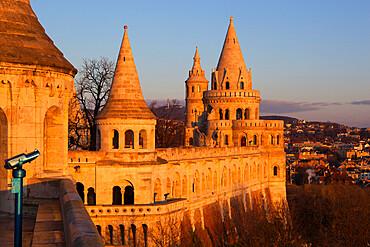 Turrets of Fishermen's Bastion (Halaszbastya) at dawn, Buda, Budapest, Hungary, Europe