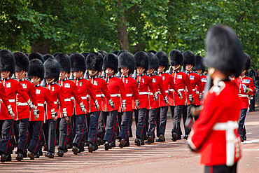Scots Guards marching along The Mall, Trooping the Colour, London, England, United Kingdom, Europe