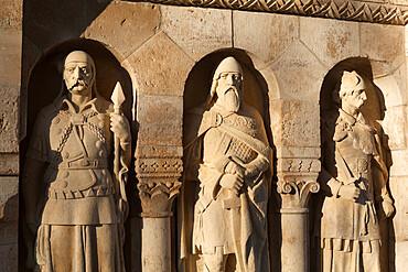 Statues on Fishermen's Bastion (Halaszbastya), Buda, Budapest, Hungary, Europe