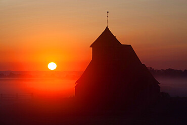 Fairfield church at sunrise, Romney Marsh, near Rye, Kent, England, United Kingdom, Europe