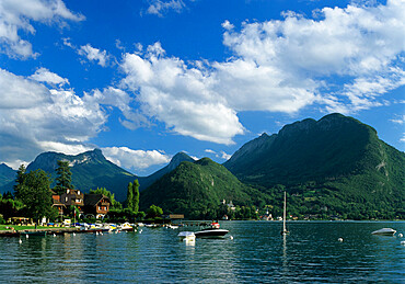 View over Lake, Talloires, Lake Annecy, Rhone Alpes, France, Europe