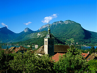 View over village, Talloires, Lake Annecy, Rhone Alpes, France, Europe