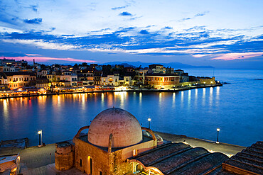 Venetian Harbour and Mosque of the Janissaries at dusk, Chania (Hania), Chania region, Crete, Greek Islands, Greece, Europe
