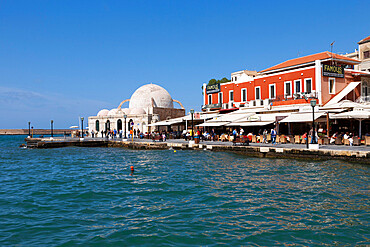 View over Venetian Harbour to Mosque of the Janissaries, Chania (Hania), Chania region, Crete, Greek Islands, Greece, Europe