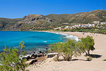 Beach view, Paleohora, Chania region, Crete, Greek Islands, Greece, Europe
