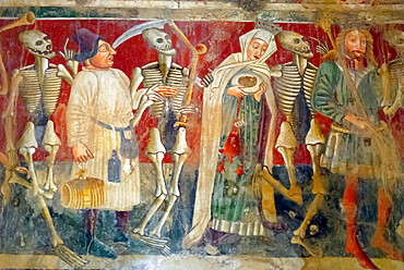 Detail of the Dance of Death fresco dating from 1475, Chapel of Our Lady of the Rocks, Beram, Istria, Croatia, Europe