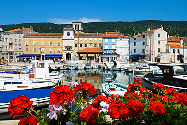 Harbour and clock tower, Cres Town, Cres Island, Kvarner Gulf, Croatia, Adriatic, Europe
