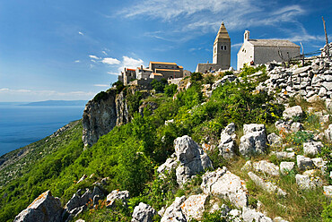 View of hill top village, Lubenice, Cres Island, Kvarner Gulf, Croatia, Adriatic, Europe