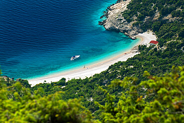 Secluded beach below village, Lubenice, Cres Island, Kvarner Gulf, Croatia, Adriatic, Europe