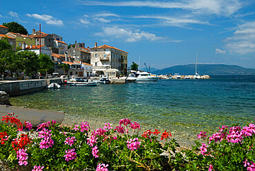 View over fishing village, Valun, Cres Island, Kvarner Gulf, Croatia, Adriatic, Europe