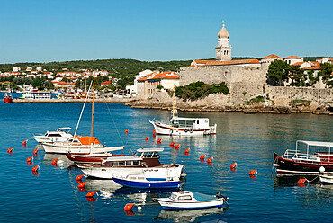 View over harbour and town, Krk Town, Krk Island, Kvarner Gulf, Croatia, Adriatic, Europe