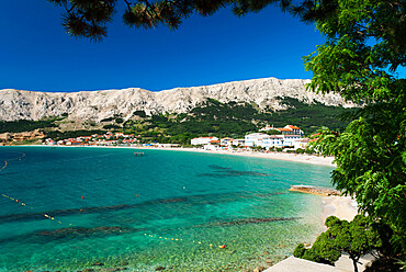 View over bay, Baska, Krk Island, Kvarner Gulf, Croatia, Adriatic, Europe