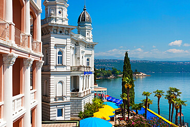Admiral Casino on waterfront, Opatija, Kvarner Gulf, Croatia, Adriatic, Europe