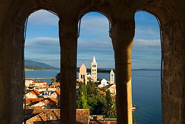 View over old town, Rab Town, Rab Island, Kvarner Gulf, Croatia, Adriatic, Europe