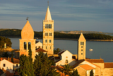 Sunset over campaniles of old town, Rab Town, Rab Island, Kvarner Gulf, Croatia, Adriatic, Europe