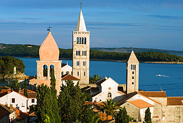 View over campaniles of old town, Rab Town, Rab Island, Kvarner Gulf, Croatia, Adriatic, Europe