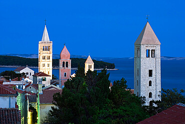 View over campaniles of old town at dusk, Rab Town, Rab Island, Kvarner Gulf, Croatia, Adriatic, Europe