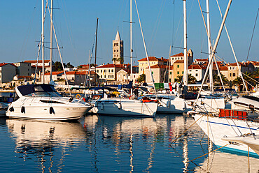 View over old town and Marina, Rab Town, Rab Island, Kvarner Gulf, Croatia, Adriatic, Europe