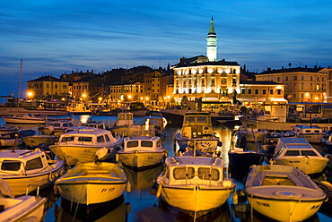 Dusk over harbour and St. Euphemia's Church, Rovinj, Istria, Croatia, Adriatic, Europe