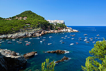 View over bay, Sa Tuna, near Begur, Costa Brava, Catalonia, Spain, Mediterranean, Europe
