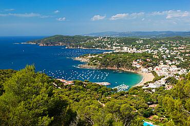 View over Llafranc and Cap Roig from Cap de St. Sebastia, near Palafrugell, Costa Brava, Catalonia, Spain, Mediterranean, Europe