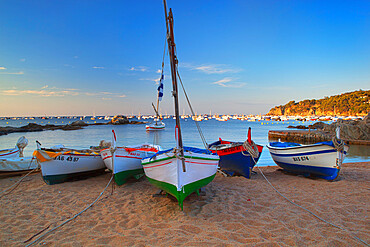 Fishing boats at dawn, Calella de Palafrugell, Costa Brava, Catalonia, Spain, Mediterranean, Europe