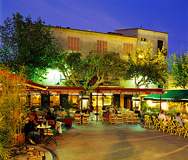 Cafes in main square of old town, Porto Vecchio, Corsica, France, Europe
